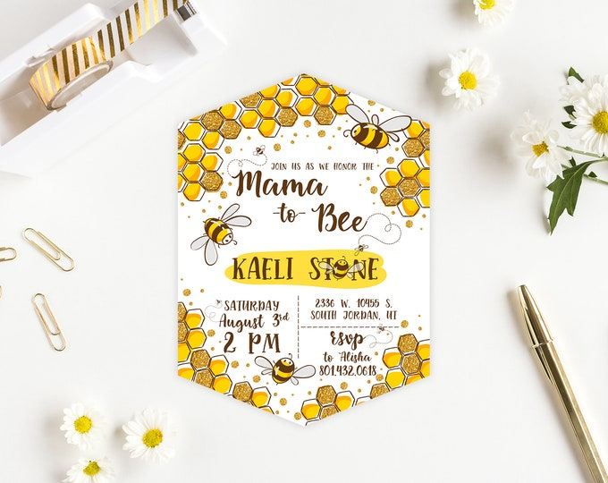 Mama to Bee - PRINTED Baby Shower Invite - Honeycomb Bumble Bee Party Invitation