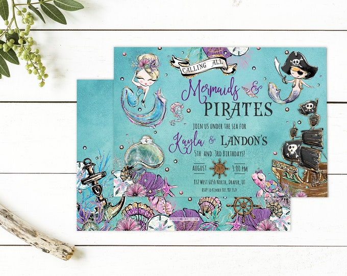Mermaids and Pirates Party PRINTED Invite - Birthday Party Invite - Under the Sea Mermaid & Pirates