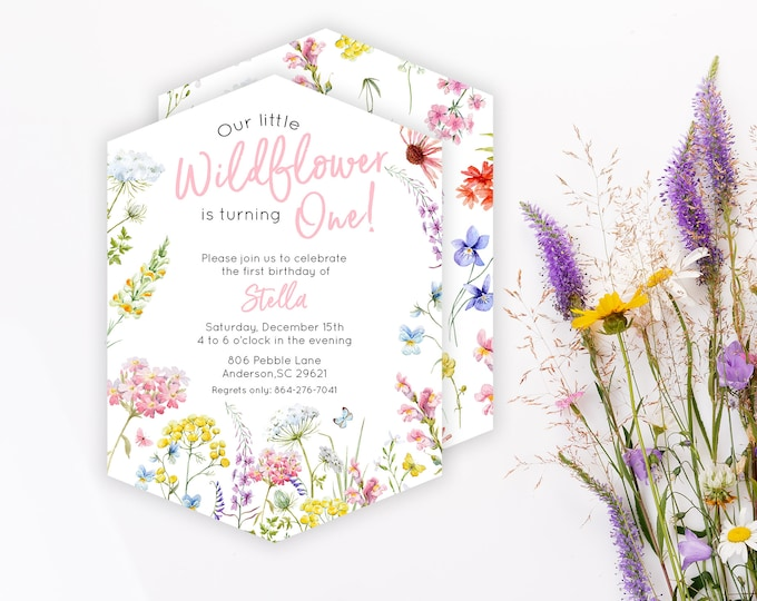 Wildflower Party PRINTED Invite - Hexagon Shape - Pink - Birthday Party Invitation