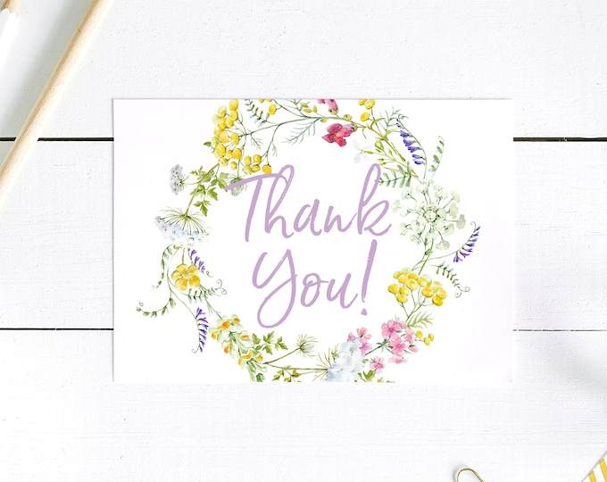 Wildflower Thank You Card - Thank You Postcards - Purple
