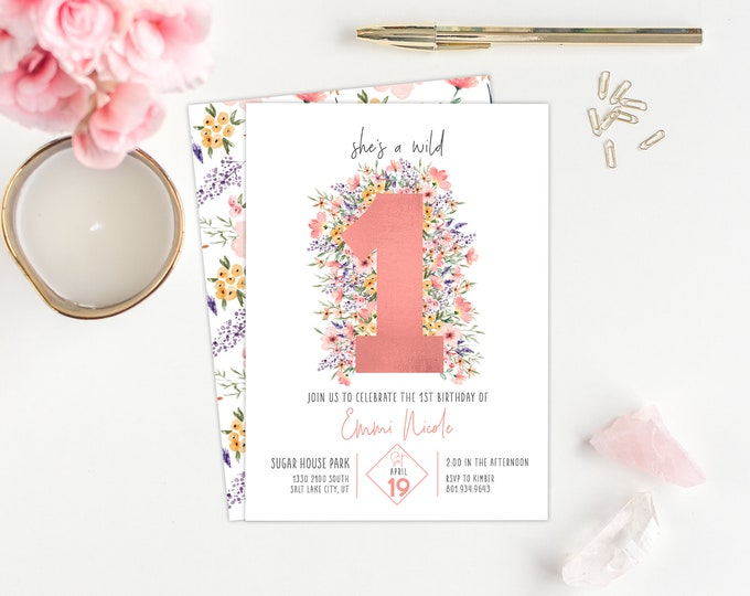 Wild One 1st PRINTED Birthday Invitation - Wildflower Party Invitation