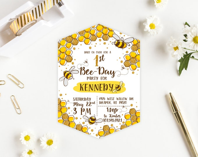 Bee Day PRINTED Birthday Invitation - Honeycomb Bumble Bee Party Invitation
