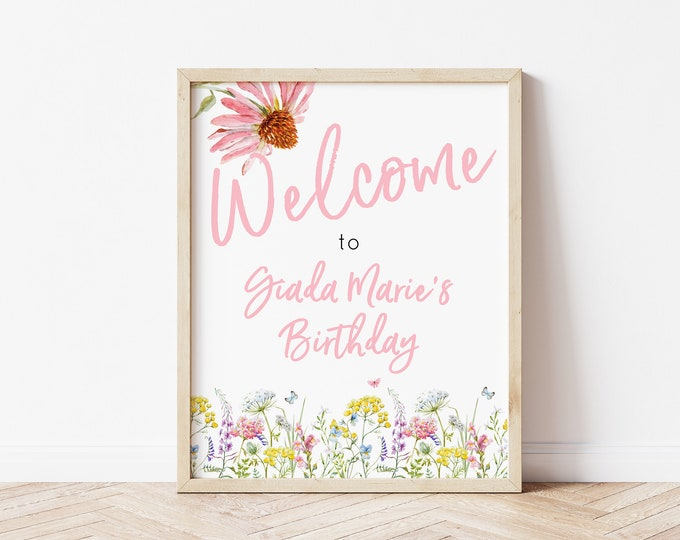 Wildflower Party Welcome Sign - Pink - Birthday Party Sign