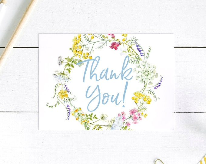 Wildflower Thank You Card - Thank You Postcards - Blue