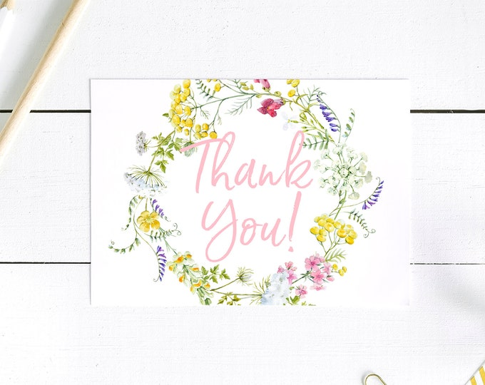 Wildflower Thank You Card - Thank You Postcards - Pink