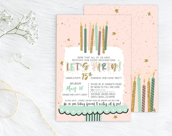 Surprise Party Birthday PRINTED Invitation - Surprise Party Invite - Let's Party