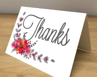 Personalized Note Cards - Pink and Orange Flowers