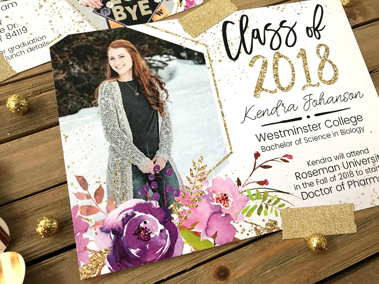 graduation announcement flower gold glitter graduation invite