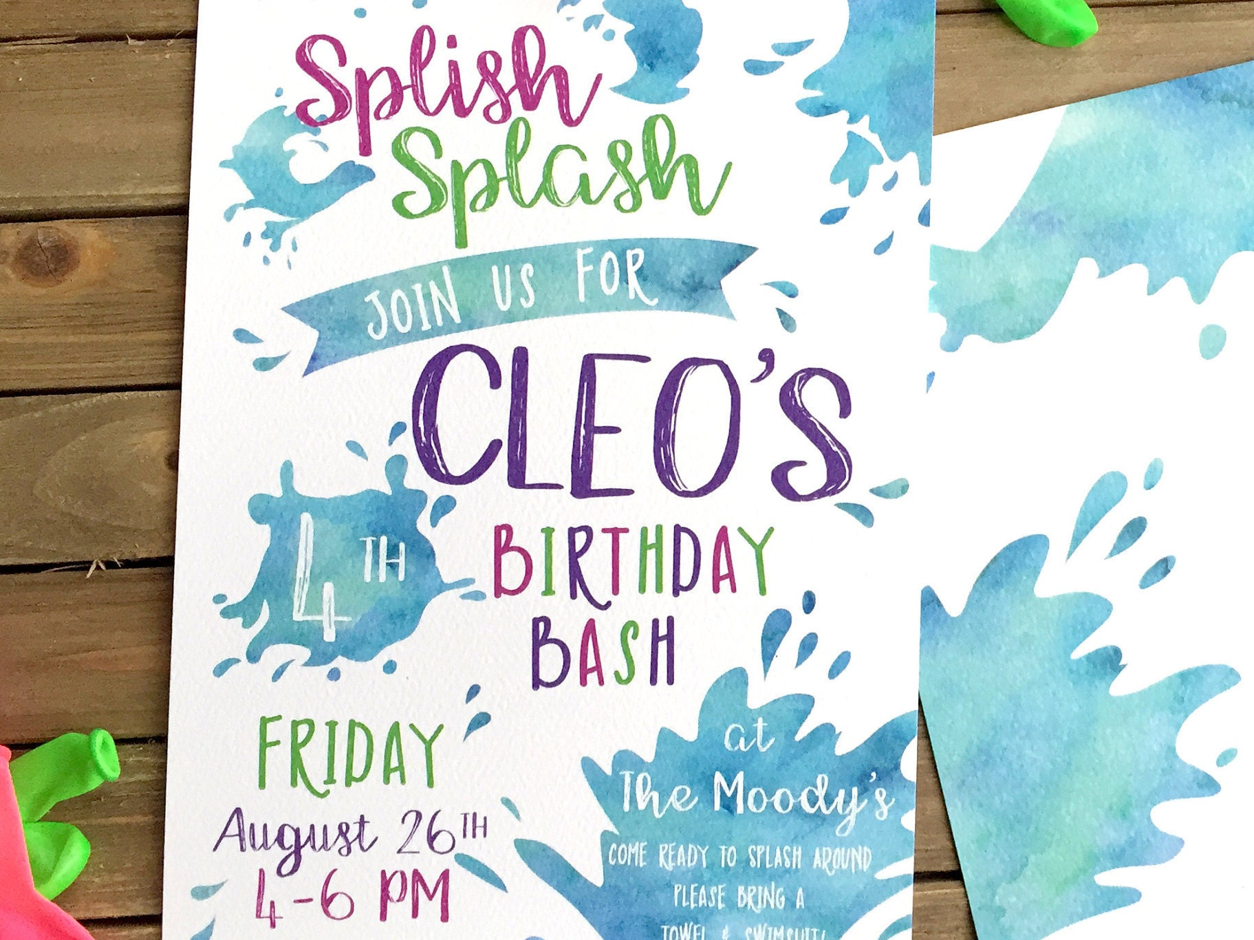 Digital Birthday Party Invitation - Water Party Invite - Splish ...