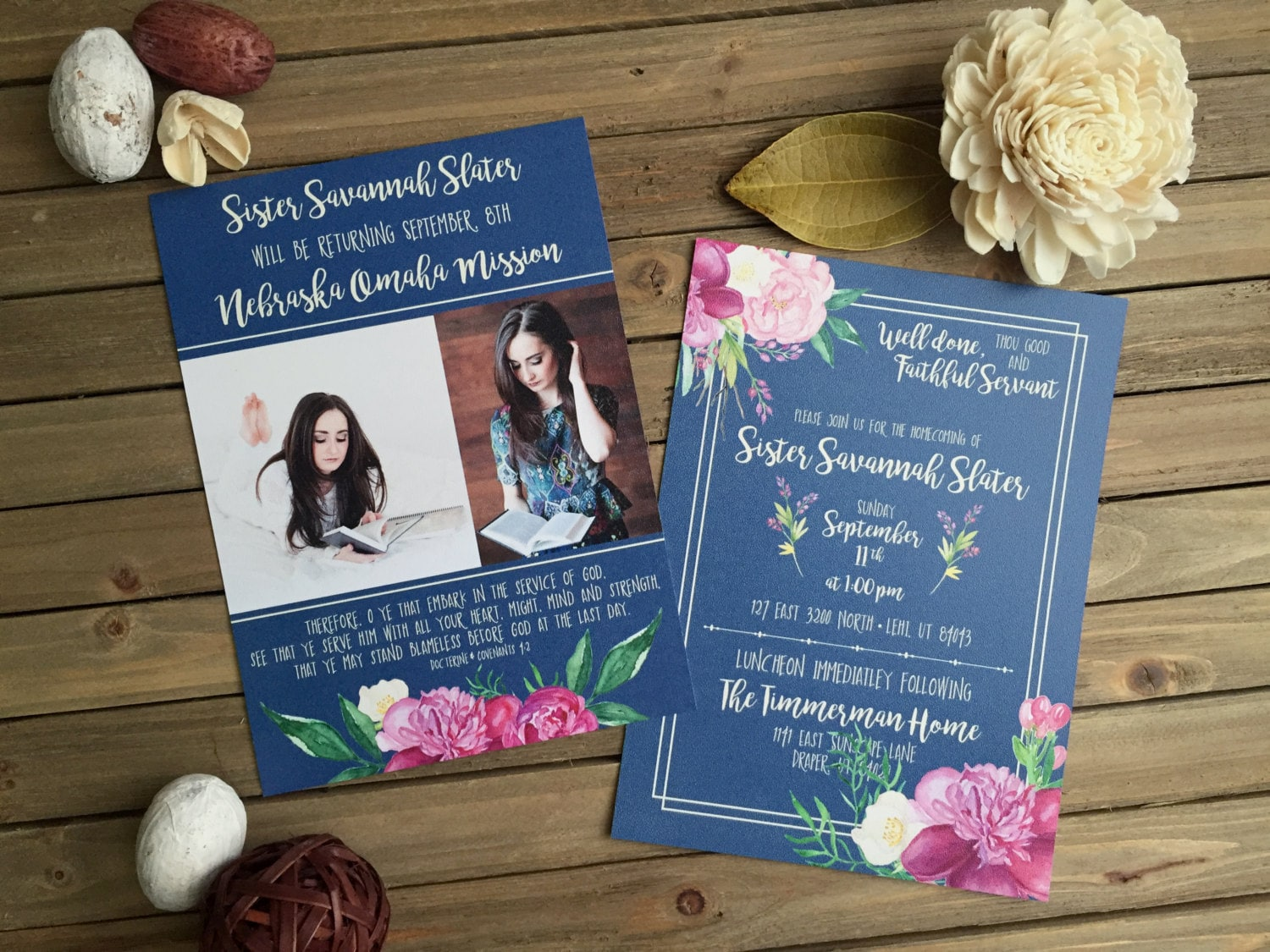 Lds Mission Homecoming Blue With Purple Floral Invite Mission