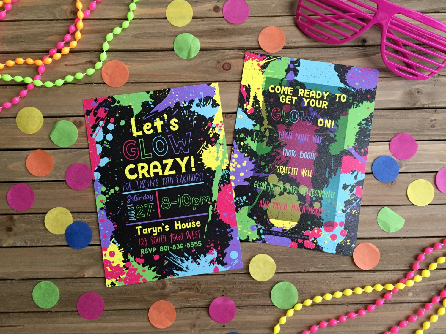 Neon Party Invitation - Glow-in-the-Dark Party - Glow Party Invite ...