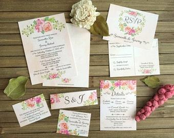 Peach Watercolor Rose Wedding Set