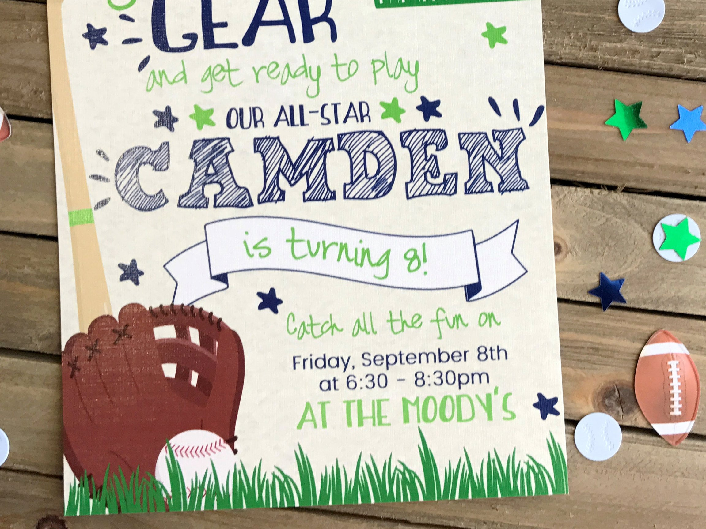 Birthday Party Invitation - Sports Party Invite - Grab Your Gear ...