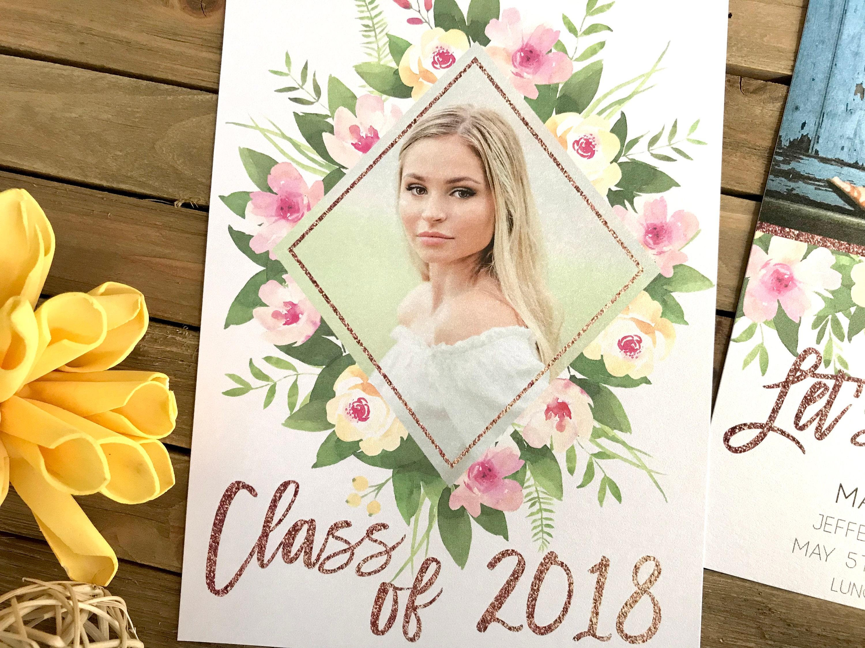 graduation announcement floral graduation party invite picture
