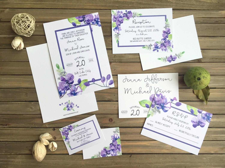Wedding Invitation Suite - Watercolor Orchid Wedding Set - Purple ...