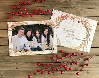 Christmas Card - Photo Christmas Card - Gold Wreath with Berries