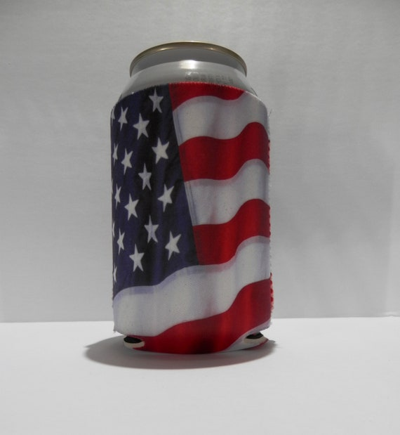 Set of 4 New 4th of July Patriotic flag USA drink can Koozie cup coolers