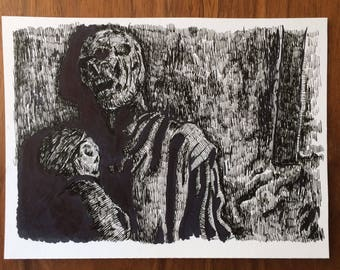 "Game of Thrones ""Farmer and Daughter"" Original Ink Drawing"