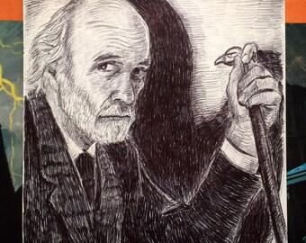 Mr. Ulman House of the Devil Original Ball Point Pen Drawing (CKS20)