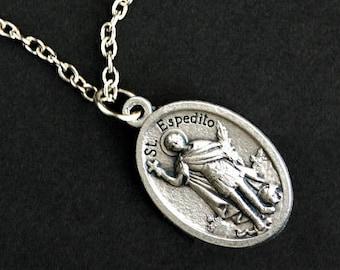Saint Espedito Necklace. Catholic Necklace. St Espedito Medal Necklace. Patron Saint Necklace. Christian Jewelry. Religious Necklace.