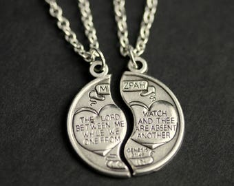 b975901d2c9 Couples Necklace. Mizpah Medal Necklace. His and Hers Necklace. Genesis  31 49 Charm Necklace. Christian Jewelry.