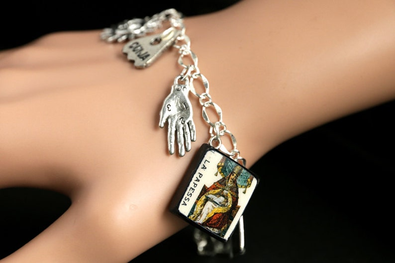 Tarot Bracelet. High Priestess Charm Bracelet. Divination image 0