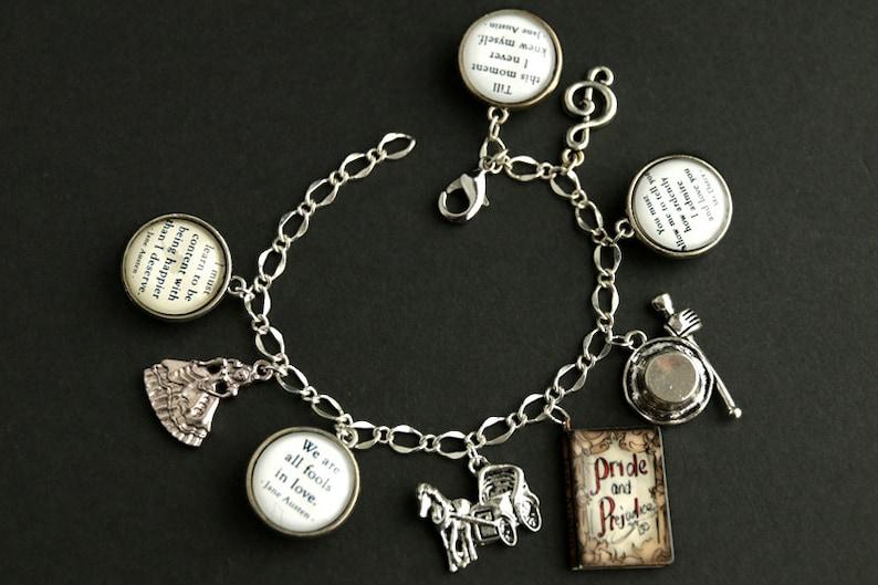 Silver Bracelet Pride and Prejudice Bracelet Handmade Bracelet. Pride and Prejudice Charm Bracelet Jane Austen Bracelet