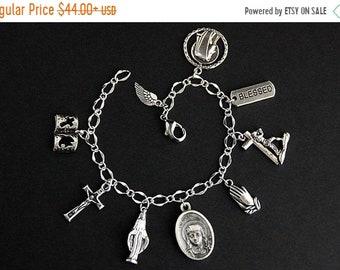 HALLOWEEN SALE Saint Catherine Bracelet. Catholic Bracelet. St Catherine Charm Bracelet. Catholic Jewelry. Religious Jewelry. Handmade Jewel