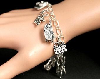 Redneck Bracelet. Redneck Charm Bracelet. Hillbilly Bracelet. Country Living Bracelet. Rural South Bracelet. Silver Bracelet.