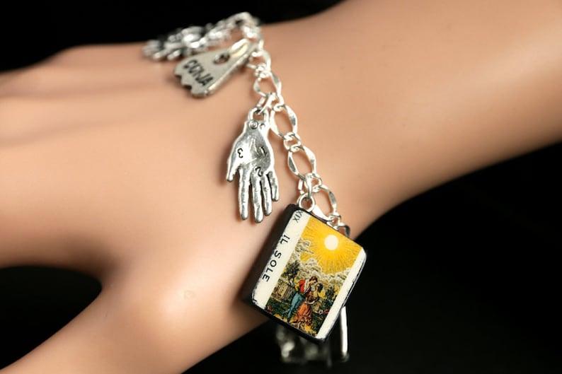 Tarot Card Bracelet. The Sun Charm Bracelet. Divination image 0