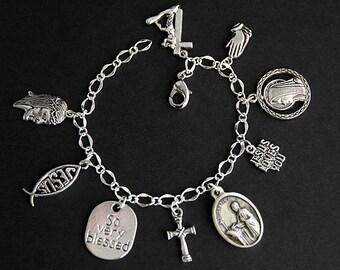 Saint Ignatius Bracelet. Christian Bracelet. St Ignatius Catholic Charm Bracelet. Christian Jewelry. Religious Bracelet. Handmade Jewelry.