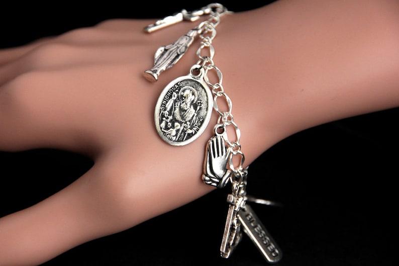 Saint Nicholas Bracelet. Catholic Bracelet. St Nicholas Charm image 0