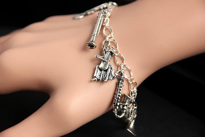Orchestra Bracelet. Musical Instrument Charm Bracelet. Music image 0