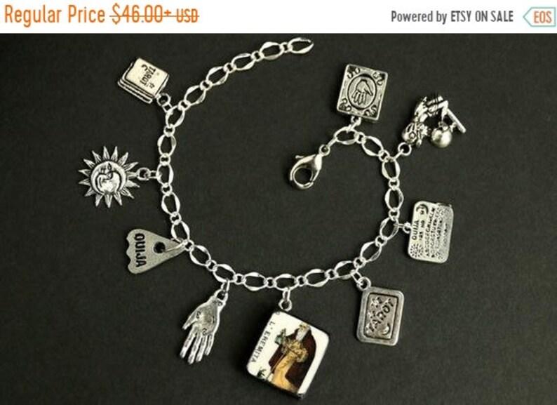 HALLOWEEN SALE Tarot Bracelet. The Hermit Charm Bracelet. image 0