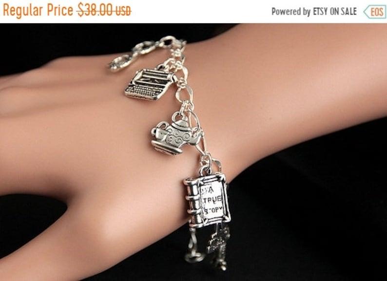 HALLOWEEN SALE Librarian Bracelet.  Librarian Charm Bracelet. image 1