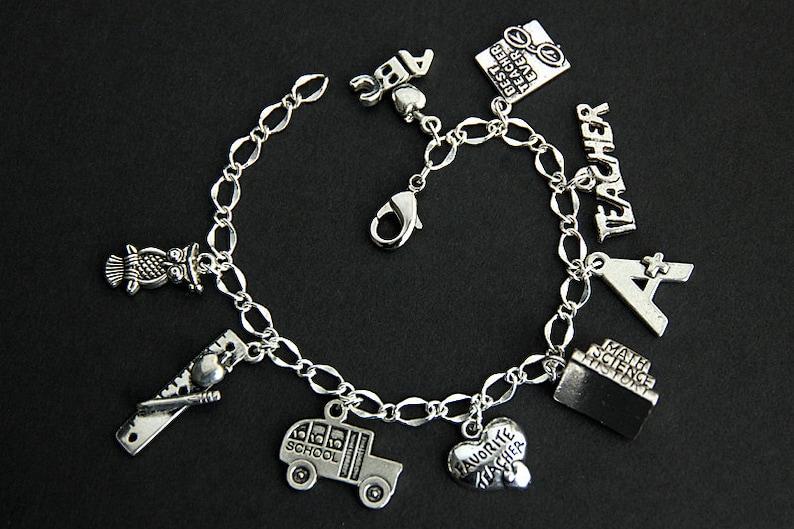 Teacher Bracelet. Teacher Charm Bracelet. Education Bracelet. image 0