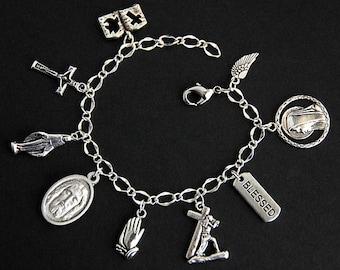 Face of Jesus Bracelet. Catholic Bracelet. Son of God Charm Bracelet. Catholic Jewelry. Jesus Medal Religious Bracelet. Handmade Jewelry