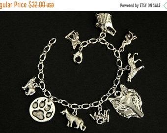 SUMMER SALE Wolf Bracelet.  Animal Lover Charm Bracelet. Wolves Bracelet. Wolf Jewelry. Animal Bracelet. Silver Bracelet. Handmade Jewelry.