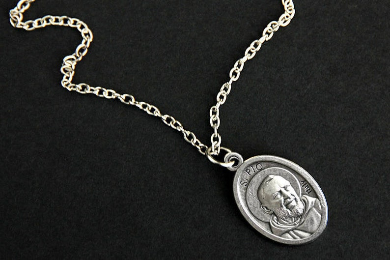 Saint Pio Necklace. Catholic Necklace. St Pio Medal Necklace. image 0