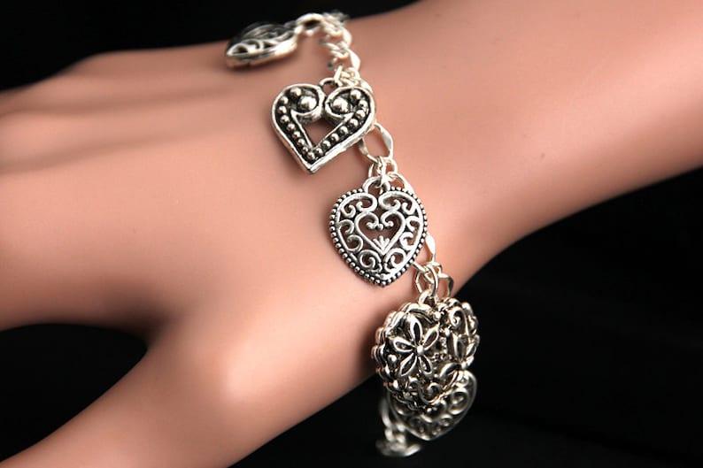 Heart Bracelet.  Filigree Heart Charm Bracelet. Fancy Hearts image 0