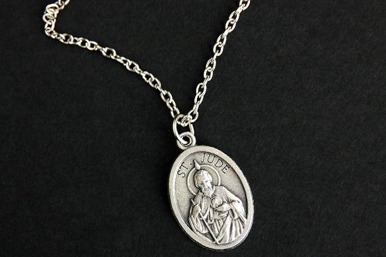 Saint Jude Necklace. Catholic Necklace. St Jude Saint Medal image 0