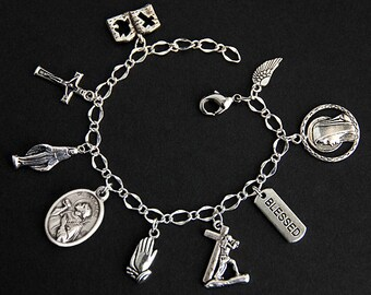 Saint Stephen Bracelet. Catholic Bracelet. St Stephen Charm Bracelet. Catholic Jewelry. Religious Jewelry. Handmade Jewelry.