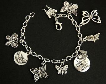 Butterfly Bracelet.  Butterfly Charm Bracelet. Butterfly Lover Bracelet. Silver Charm Bracelet. Handmade Jewelry.