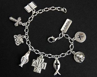 Alpha Omega Bracelet. Catholic Bracelet. Alpha Omega Medal Bracelet. Catholic Jewelry. Religious Bracelet. Handmade Jewelry.