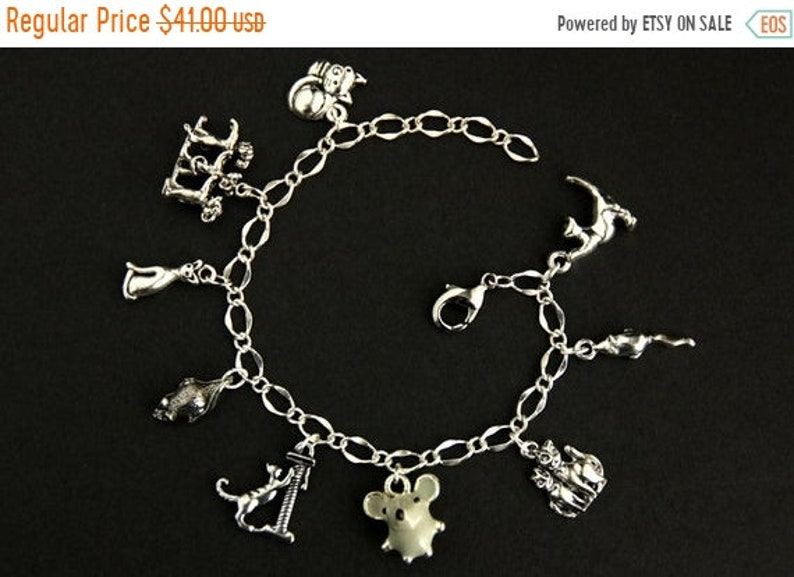 HALLOWEEN SALE Cat and Mouse Bracelet.  Cats Play Charm image 0