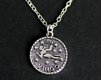 Virgo Necklace. Sun Sign Necklace. Virgo Charm Necklace. Silver Necklace. Horoscope Necklace. Zodiac Jewelry. Handmade Necklace.
