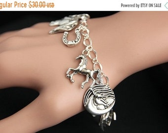 SUMMER SALE Horse Bracelet.  Horse Charm Bracelet. Horse Lover Bracelet. Silver Charm Bracelet. Handmade Jewelry.