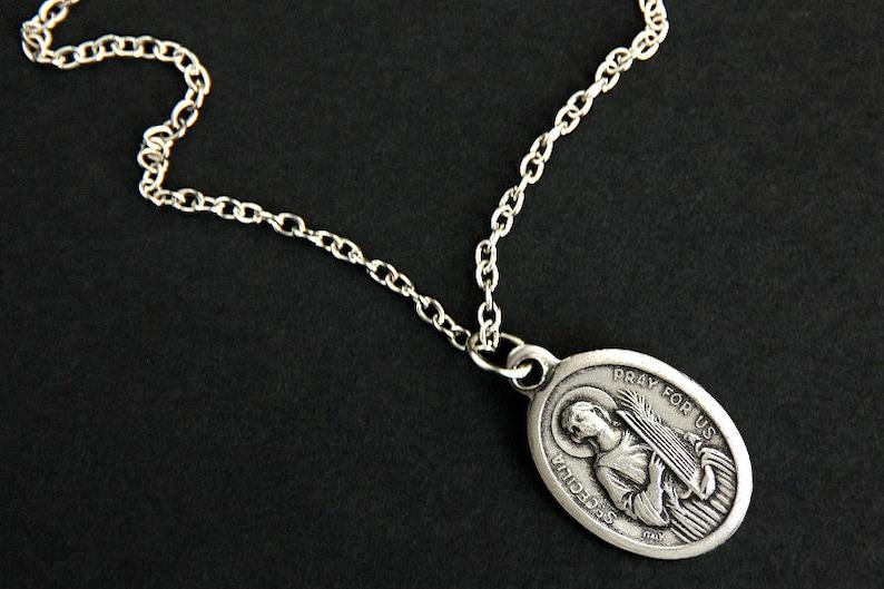 Saint Cecilia Necklace. Catholic Saint Necklace. St Cecilia image 0