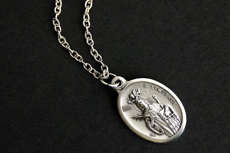 Saint Lawrence Necklace. Catholic Necklace. St Lawrence Medal image 0