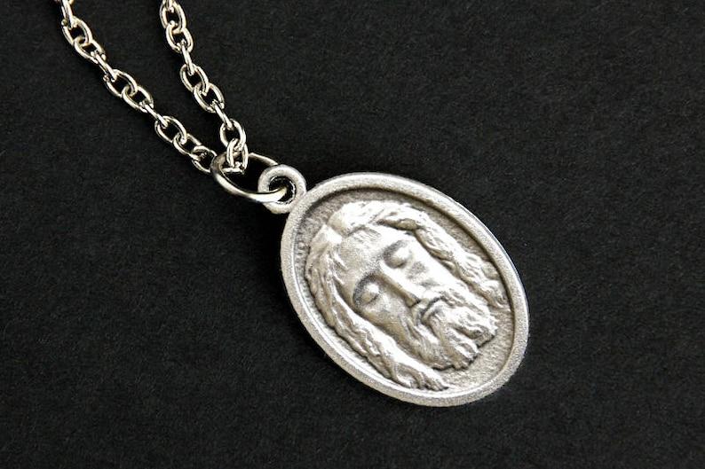 Face of Jesus Necklace. Catholic Necklace. Jesus Face Saint image 0
